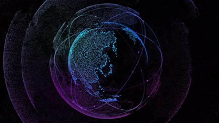 orbital : Digital network technology of the globe with orbiting satellites. 4k video. Loop seamless Stock Footage