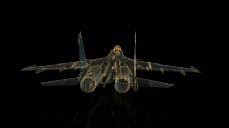 stealth : Fighter jet in flight from abstract polygonal line. Low poly fighter in motion , lines and connected to form. Rotating seamless loop. Digital technology visualization of 3d. Stock Footage