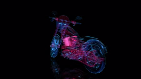 hız göstergesi : Rotating motorcycle. Red and blue shine of Model motorcycle 360 Degree. Looping Motion Animated Background.