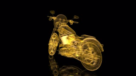 tachimetro : Rotating motorcycle. Mesh glossy wire-frame. Shine Formation of Model motorcycle. Looping motion animated. Filmati Stock