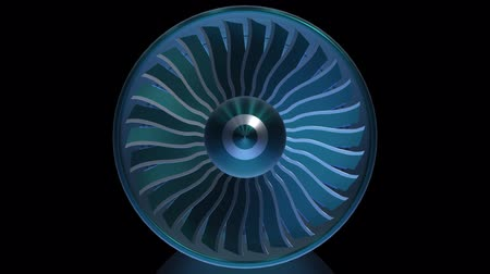 yandan görünüş : Close-up view jet engine blades. Animation of rotation turbine from turbojet airplane engine. Digital technology visualization of 3d. Stok Video