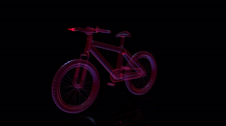 freio : Bicycle glass shine on rotating black background. Rotating seamless loop. Digital technology visualization of 3d.