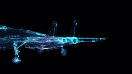 stealth : Fighter jet in flight from abstract polygonal line. Low poly fighter in motion , lines and connected to form. Digital technology visualization of 3d. Stock Footage