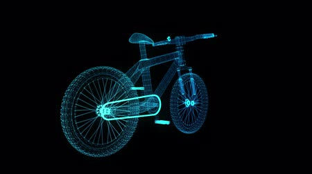 педаль : Bicycle. Glowing blue light particles point and line of bicycle model. Seamless looping motion animation in 3d virtual space. Technology motion concept. Стоковые видеозаписи
