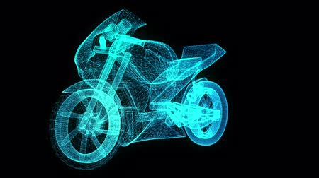 rama obrazu : Rotating motorcycle. Glowing Light Particles Arranged in the Formation of Model motorcycle 360 Degree. Seamless Looping Motion Animated Background. Blue Cyan color.