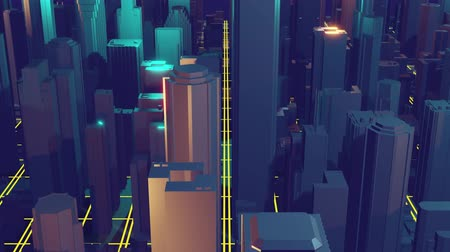 kentsel : 3d city rendering with lines and digital elements. Digital skyscrapers. Technology video concept.