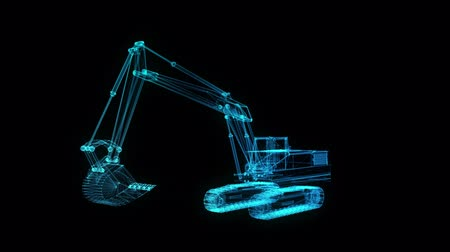 crawler : Glowing blue light particles point of Excavator Machine model. Seamless looping motion animation in 3d virtual space. Technology motion concept. Stock Footage