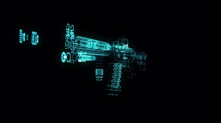 ozbrojený : Glowing blue light particles point of Rifle Gun model. Seamless looping motion animation in 3d virtual space. Technology motion concept. Dostupné videozáznamy