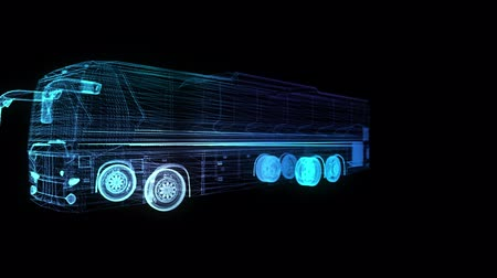 erişilebilirlik : City bus. Truck. Glow points and line formation of 3d Model Bus. Rotating. Seamless loop 4k animation. Digital technology visualization of 3d.
