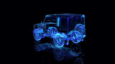 car designer : X-ray formation of car. Seamless loop 4k animation. Vehicle Frame with Wheels Solid Virtual Model. Digital technology visualization of 3d.