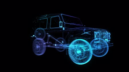 nárazník : Future car. Glow points and line formation of car. Seamless loop 4k animation. Vehicle Frame with Wheels Solid Virtual Model. Digital technology visualization of 3d.