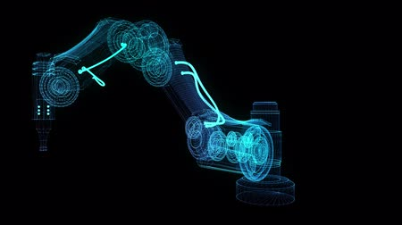 Industrial robot. Glow points and line formation of 3d robot hand. Rotating. Seamless loop 4k animation. Digital technology visualization of 3d.