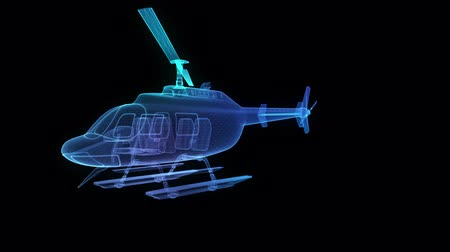 Helicopter formation from abstract polygonal line. Digital technology visualization of 3d. Virtual Model, Seamless loop 4k animation. Stock Footage