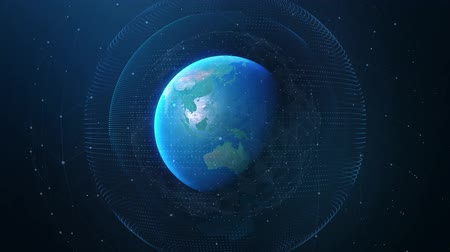 Digital Earth rotating animation. Future technology abstract business scientific growth network surrounding planet earth rotating Modern Business and Technology Concept. 4k Ultra HD. Images from NASA.