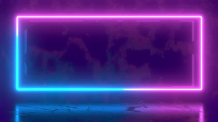 Abstract seamless pattern of neon glowing ultraviolet lines, modern fluorescent light, neon box, loop 4k background, blue purple spectrum.