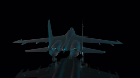 stealth : Rotating Fighter jet. Black shine airplane Formation of Model 360 Degree. Rotating seamless loop. Stock Footage