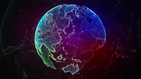 Digital data globe. Abstract 3D rendering of a scientific technology data network planet earth. 4K Digital World Networks.