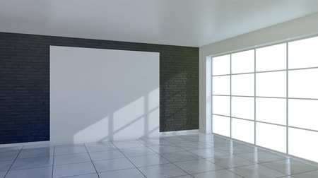 Blank billboard on the brick wall in modern gallery interior.