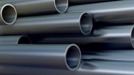 Metal Pipes with reflections. 3d animation. UltraHD 1080. Steel pipes background.