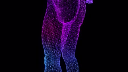 Blue light dot and lines formation human model. Human Body 3D rendering.