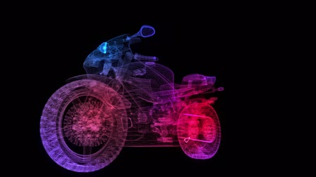 Motorcycle. Glowing Light Particles Arranged in the Formation of Model motorcycle. Motion Animated.