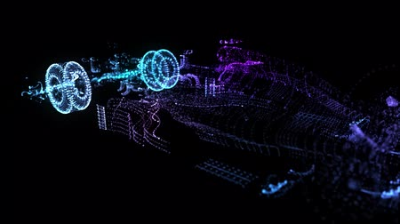 Glow points formation of 3d Model super car. Seamless loop UltraHD animation. Rotating in Cyberspace Structure. Template for HUD. 4k UHD 3840x2160. Technology car Concept.