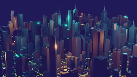 Three-dimensional city of skyscrapers with shining lights. Fly around the camera over the city.