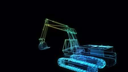 crawler : Glowing blue lines formation of Excavator Machine 3d model. Motion animation in 3d virtual space. 4k UHD 3840x2160.