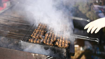 espetos : Street food. Cooking meat on the grill. Kebabs on the grill. Picnic outdoors. Camping.