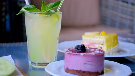 glass pitcher : Homemade lemonade and delicious fruity desserts