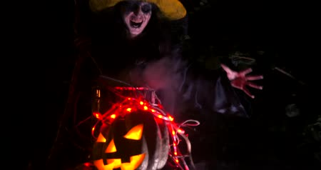 wicked : Wicked frightening witch with cane above the cauldron in dark forest . Halloween Horror Scene