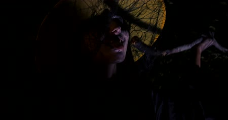 soletrar : Wicked frightening witch tasting her potion in dark forest . Halloween Horror Scene Vídeos