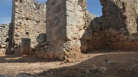 Wide view of well preserved ancient city of Lyrboton Kome in Turkey, used as an olive oil production site.