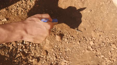 historians : Young archeologist works on an archaeological site in the ancient city Stock Footage