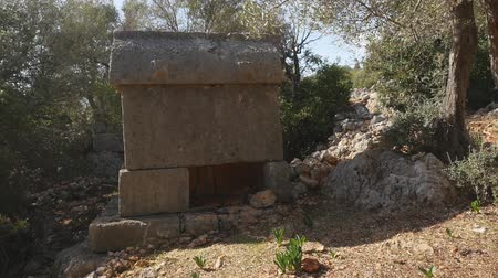 Closeup view of ancient greek stone tomb in forest. It was looted many years ago