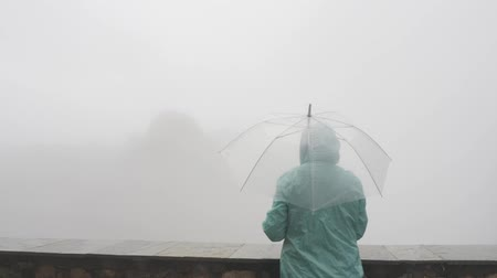 yağmur yağıyor : Back view of lonely young woman tourist in hat with transparent umbrella looking at breathtaking view of high mountains dissapearing in fog Stok Video