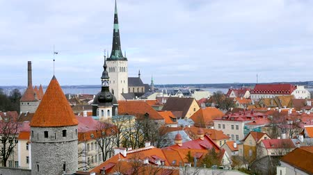 Észtország : Beautiful spring view of Tallinn city on the background. April 2018.