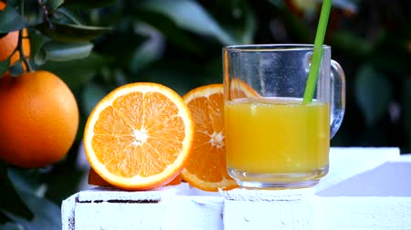 sürahi : Glass of orange juice becomes empty, orange trees background