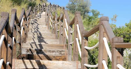 antalya : Outdoor wooden stair going up the hill