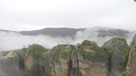 kalambaka : Beautiful cloudy Winter Meteora landscape in Greece rainy weather
