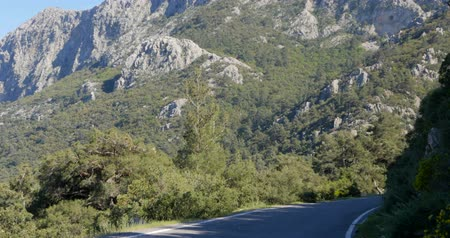 araba : View of a forest road in Antalya province in Turkey