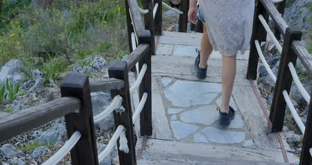 antalya : Outdoor wooden stair going down the hill
