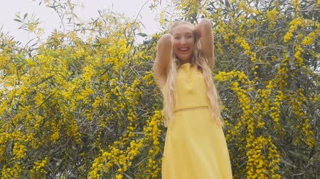 akacja : Young beautiful smiling woman with long blond hair in yellow dress in spring Australian Golden wattle trees garden.