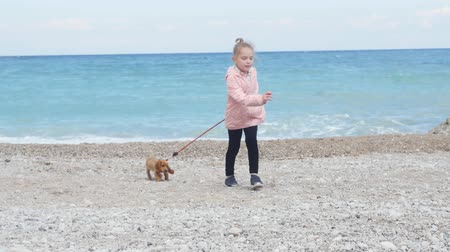 learning to walk : Little girl walking her cocker spaniel puppy on the leash by the seaside