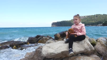 愛撫 : Little girl sitting on the rocks near the sea with her sweet cocker spaniel puppy, spring time