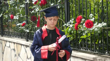 profesor : Happy caucasian child in graduation gown with diploma standing near stone fence full of wild roses. Students celebration graduation, education concept