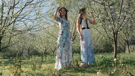 prune : Young beautiful caucasian women in long dresses in bay leaf wreath standing dreamily in spring blossom plum garden.