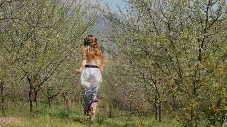 skok : Young beautiful caucasian woman in long dress in bay leaf wreath running happily in spring blossom plum garden.