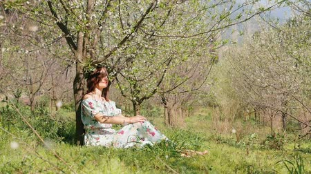 śliwka : Young beautiful caucasian woman in long dress in bay leaf wreath sitting under blooming plum tree blossom garden. Fallinn petals in slow motion in front Wideo