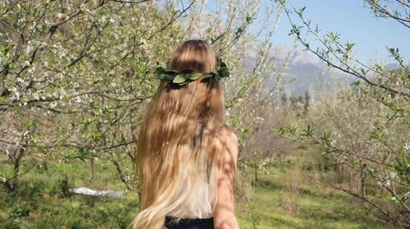 prune : Young beautiful caucasian woman in long dress in bay leaf wreath walking dreamily in spring blossom plum garden. Backside view slow motion